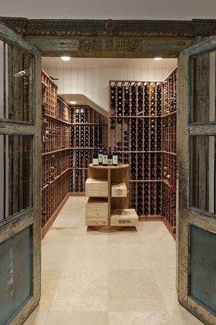 Wine Cellar with Glass panel door, Built-in bookshelf, Concrete tile , High ceiling