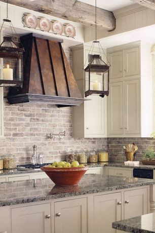 Traditional Kitchen with Pendant light, York Cream RN1030 Rustic Brick Wallpaper, Stone Tile, Inset cabinets, Limestone Tile