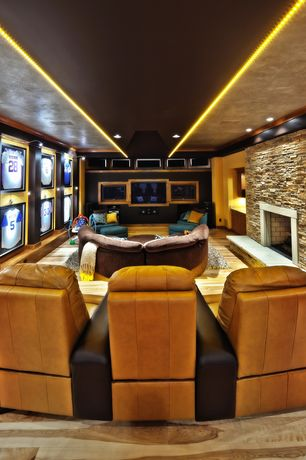 Contemporary Home Theater with Seatcraft Catalina Home Theater Seating, Home theater seating, Hardwood floors, Wall sconce