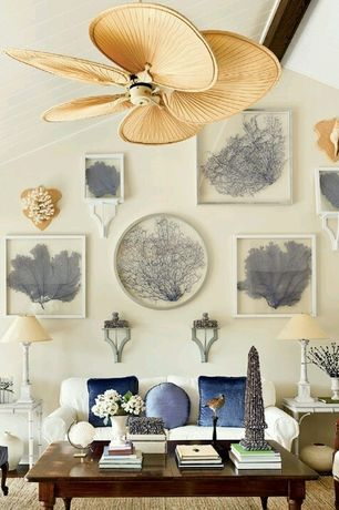 Eclectic Living Room with Exposed beam, Standard height, Tropical ceiling fan, West elm sweater wool rug, Ceiling fan, Paint