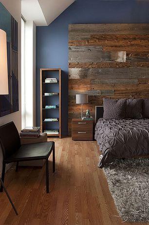 Contemporary Master Bedroom with Standard height, Reclaimed wood headboard, Cb2 - saturday floor lamp, Hardwood floors, Paint
