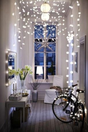 Cottage Entryway with Pendant light, White slipcover only for slip side chair, Snowflake led string lights, Crown molding