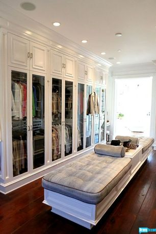 Traditional Closet with Armstrong hardwood flooring in maple-cherry, Built-in bookshelf, Crown molding, Hardwood floors