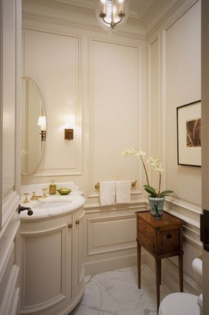 Traditional Powder Room with specialty door, Powder room, Complex marble counters, Complex Marble, Wall sconce, Pendant light
