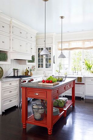 Country Kitchen with Pendant light, European Cabinets, Complex marble counters, White metal shade pendant light, Glass panel