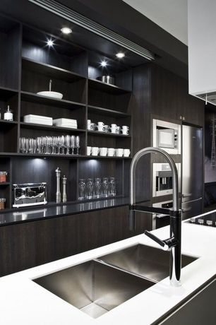Contemporary Kitchen with High ceiling, European Cabinets, Open shelving, Dupont Corian Designer White, Quartz counters