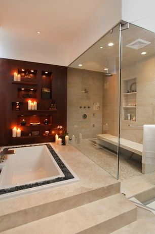 Contemporary Master Bathroom with Master bathroom, Standard height, can lights, Pental porcelain advance tile in mocha creme