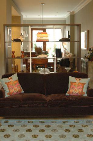 """Asian Living Room with Leda Lounge 70"""" Bookcase, Restoration Hardware 5' Barclay Vintage Velvet Upholstered Sofa"""