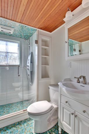 Cottage Full Bathroom with Wainscotting, Shower, Raised panel, Classic glass mosaic tile blue blend, Casement, Full Bath