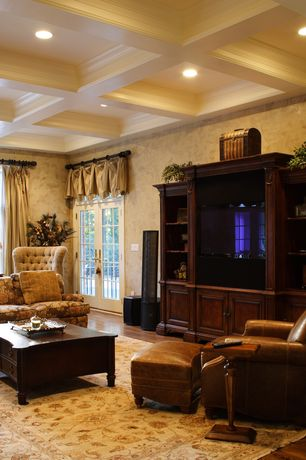 Traditional Living Room with Box ceiling, can lights, Hardwood floors, interior wallpaper, Standard height, specialty window