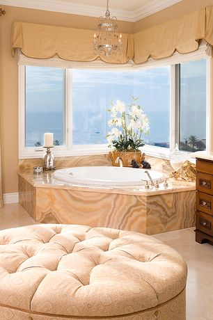 Traditional Master Bathroom with Flat panel cabinets, Master bathroom, Raised panel, Crown molding, Simple marble counters