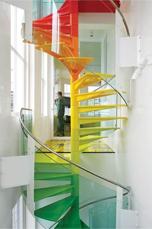Contemporary Staircase with Wall sconce, French doors, High ceiling, Spiral staircase