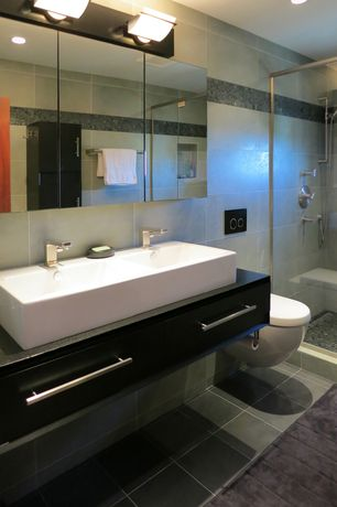 Contemporary 3/4 Bathroom with Handheld showerhead, Console sink, Double sink, Ms international angola black granite, Flush