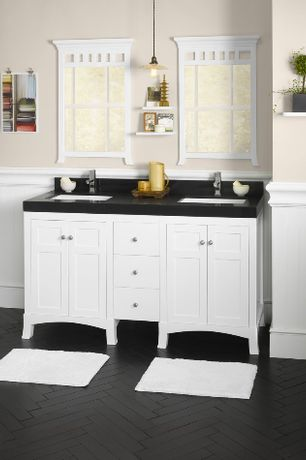 Country Full Bathroom with Paintable white beadboard, Flush, European Cabinets, High ceiling, Wallscapes Woodridge Shelf Kit