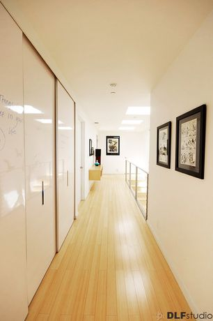 Modern Hallway with Laminate floors, specialty door