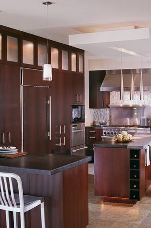 Contemporary Kitchen with Scope pendant by trend, built-in microwave, Standard height, double wall oven, European Cabinets