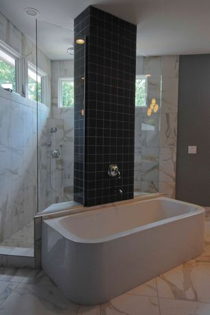 Contemporary Master Bathroom with MS International Calacatta Gold Marble, Daltile natural hues black ceramic tile
