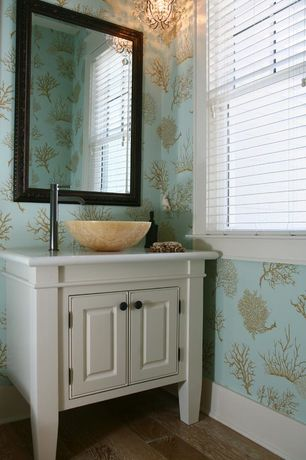 Tropical Powder Room with Raised panel, Standard height, interior wallpaper, Casement, Vessel faucet, Flush, Powder room
