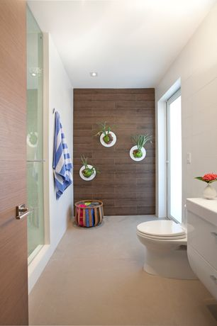 Contemporary 3/4 Bathroom with French doors, American Olean Ultra Modern Infinite Cream Porcelain Tile, Corian counters