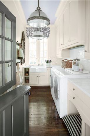 Traditional Laundry Room with Standard height, Paint 2, Built-in bookshelf, Casement, laundry sink, Farmhouse sink, Paint 1