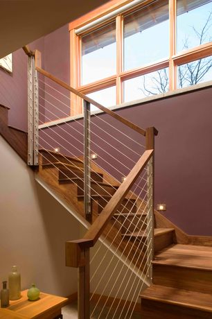 Modern Staircase with Hardwood floors, Spiral staircase, Cable railing
