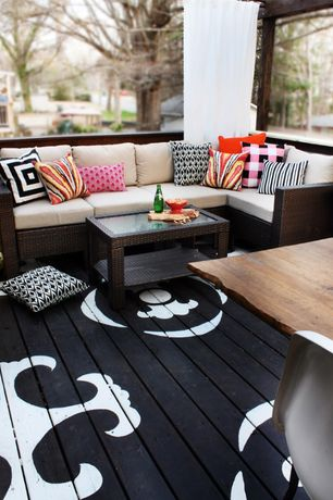 Contemporary Deck with Outdoor living, Hampton bay beverly 5-piece patio sectional seating set, Stenciled floor