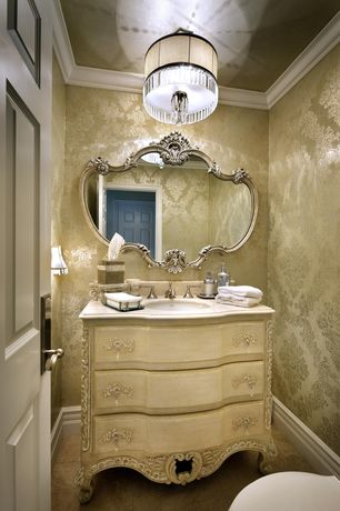 Traditional Powder Room with flush light, Inset cabinets, Anders Damask Cortina III, interior wallpaper, Ornate carved mirror