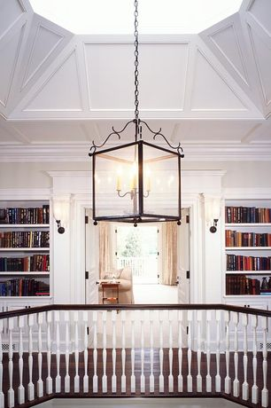 Traditional Hallway with Box ceiling, Built-in bookshelf, Hardwood floors, flush light, Wall sconce