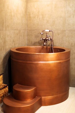 Asian Master Bathroom with Rounded copper tub steps (16 gauge / hammered exterior / antique copper), Paint