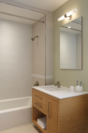 Contemporary Full Bathroom with Inset cabinets, Bamboo floors, George kovacs lighting bath art vertical bathroom light