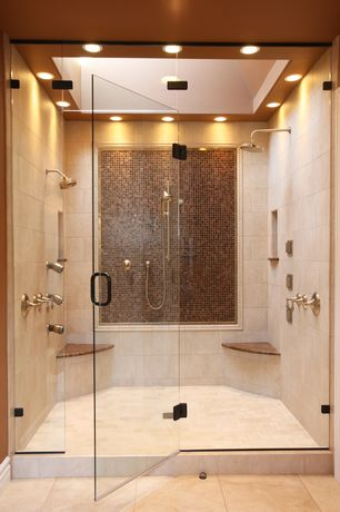 Contemporary Master Bathroom with frameless showerdoor, stone tile floors, three quarter bath, Handheld showerhead, Skylight