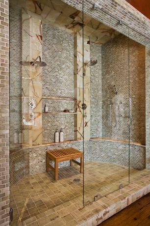 "Contemporary 3/4 Bathroom with Wall Tiles, Mosaic 1x2"" stone tile, Shower, Bamboo shower bench, Hardwood floors, Rain shower"