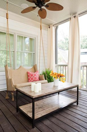 Contemporary Porch with Outdoor curtains, Nedmac outdoor ceiling fan, Box frame coffee table, Porch swing, Screened porch