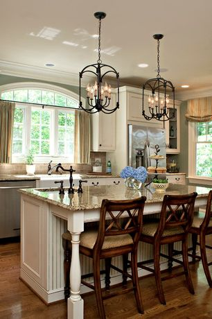 Traditional Kitchen with Crown molding, Slate Tile, Standard height, Glass panel, Bronze 2-handle bar faucet, Paint, One-wall