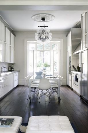 Contemporary Kitchen with Jumbo 36 Bubble Chandelier, wall oven, European Cabinets, Flush, U-shaped, French doors, Wall Hood