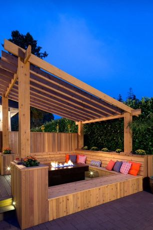 Contemporary Patio with Raised beds, French doors, Trellis, Pathway, Fire pit, exterior stone floors