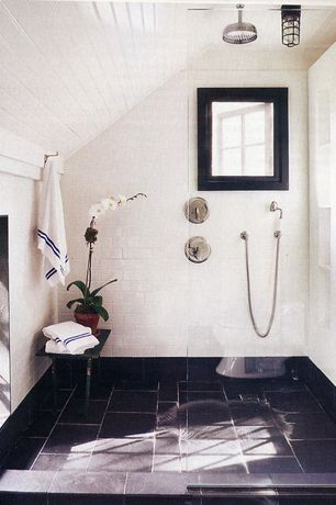 Contemporary Master Bathroom with Rain shower, flush light, American olean starting line white gloss ceramic wall tile