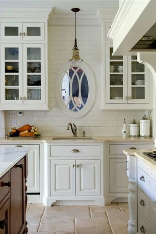 Traditional Kitchen with Glass panel, Undermount sink, Raised panel, Inset cabinets, Crown molding, Pendant light