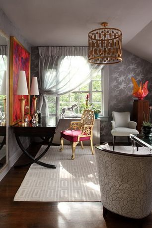 Eclectic Home Office with flush light, Hardwood floors, interior wallpaper