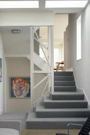Contemporary Staircase with Carpet, Skylight