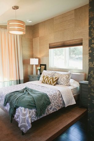 Eclectic Guest Bedroom with flush light, Paint, Casement, Hardwood floors, can lights, West Elm Leather Grid-Tufted Headboard