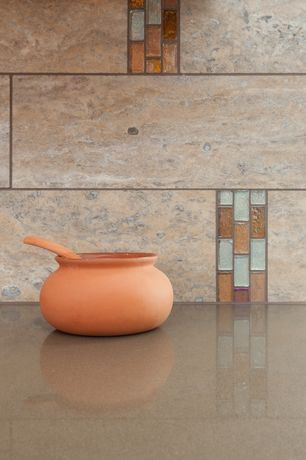 Modern Kitchen with Concrete, Emser travertine floor and wall tile, Terra cotta classic olla stew pot or storage jar with lid