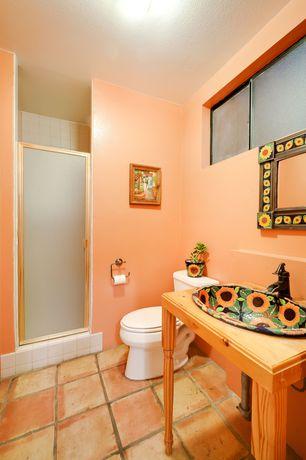 Mediterranean 3/4 Bathroom with picture window, Standard height, French doors, Paint, terracotta tile floors