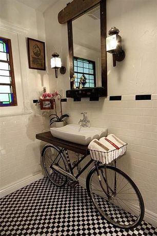 Eclectic Powder Room with Stained glass window, ceramic tile floors, Checker board tile floor, Vessel sink, Wood counters