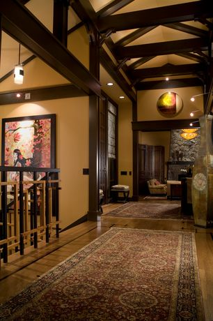 Traditional Hallway with Traditional Cross Legs Ari Beige Linen X Bench Ottoman, Exposed beam, Columns, High ceiling