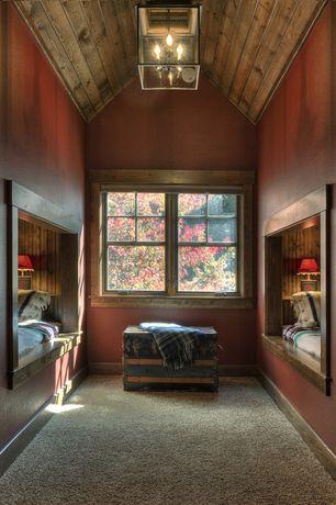 Rustic Kids Bedroom with Bunk beds, Lehmans - reproduction steamer trunks, Pendant light, Carpet
