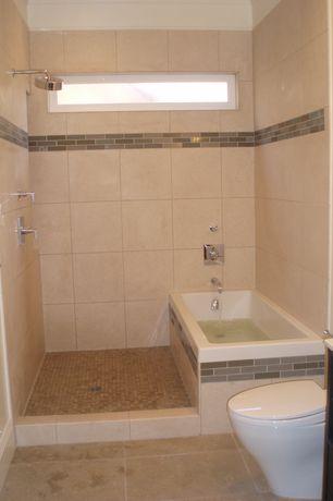 Modern Full Bathroom with Rain shower, Corian counters, Flush, European Cabinets, Glass panel