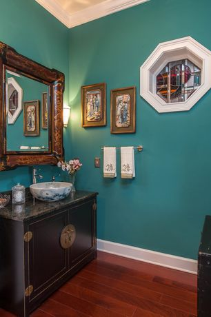 Asian Powder Room with Simple granite counters, Vessel sink, Porcelain basin with lotus koi pond desing, Flush, Crown molding