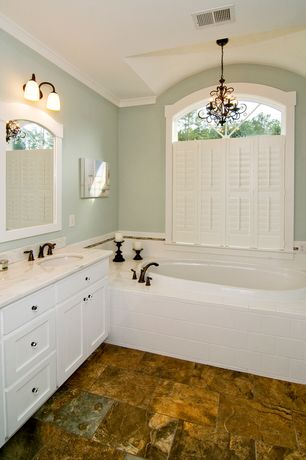 Craftsman Master Bathroom with Undermount sink, Hunter douglas newstyle hybrid shutters, Crown molding, Master bathroom