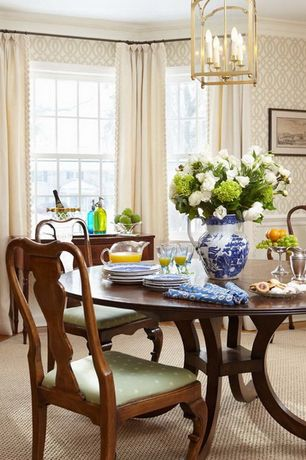 Traditional Dining Room with double-hung window, Pendant light, Chair rail, Standard height, interior wallpaper